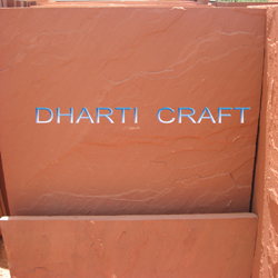 Red color Sandstone naturally split used for exterior paving