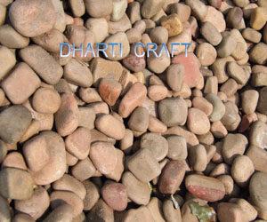 Landscaping beige pebbles