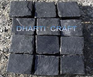 Black color cobbles for exterior paving
