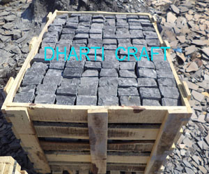 wooden crate packaging of Black Cobbles