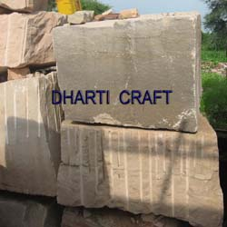 Beige color dholpur sandstone undressed blocks