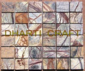 STONE MOSAIC TILE of Rainforest brown marble