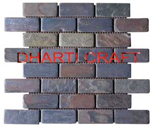 STONE MOSAIC TILE for interior decoration brick pattern