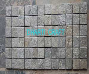 STONE MOSAIC TILE of Green Gold Slate color