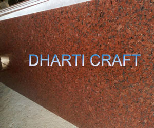 red granite tile from India with hues of black, blue colcor
