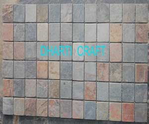 STONE MOSAIC TILE made of Slate Jack Multicolor